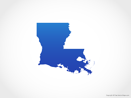 Free Vector Map of Louisiana - Blue