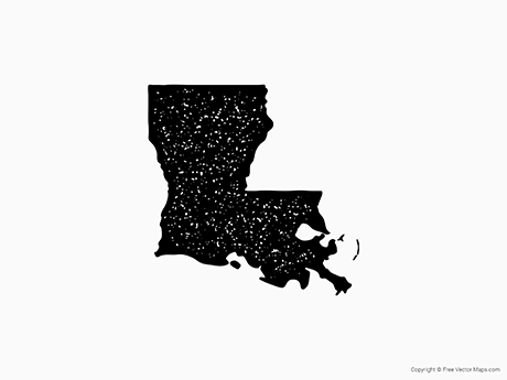 Free Vector Map of Louisiana - Stamp