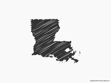 Free Vector Map of Louisiana - Sketch