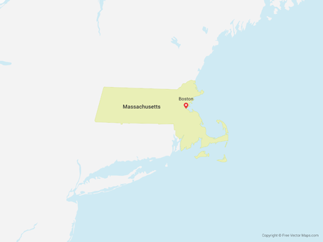 Free Vector Map of Massachusetts