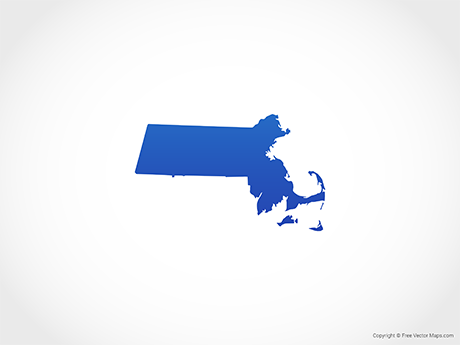 Free Vector Map of Massachusetts - Blue