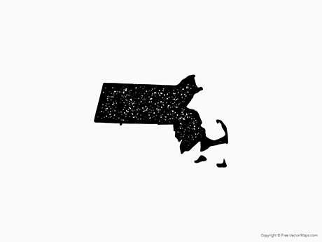 Free Vector Map of Massachusetts - Stamp