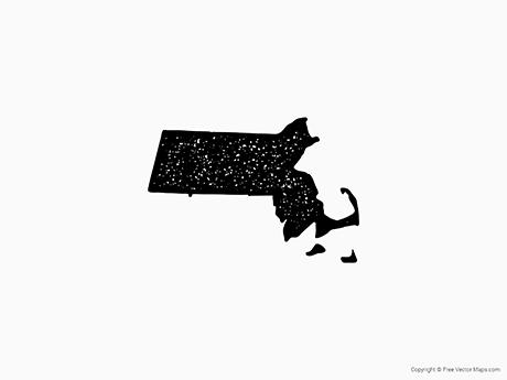 Free Vector Map of Massachusetts - Stamp