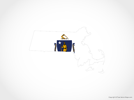 Free Vector Map of Massachusetts - Flag