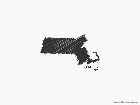 Free Vector Map of Massachusetts - Sketch
