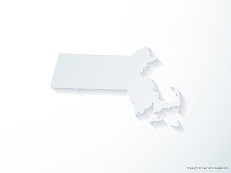 Free Vector Map of Massachusetts - 3D