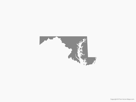 Free Vector Map of Maryland - Single Color