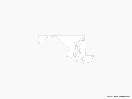 Map of Maryland - Outline