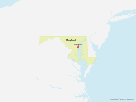 Free Vector Map of Maryland