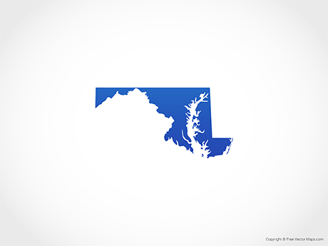 Free Vector Map of Maryland - Blue