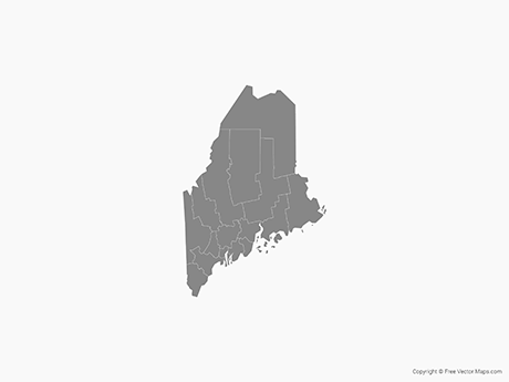 Map of Maine with Counties - Single Color