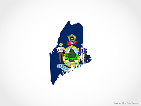 Free Vector Map of Maine - Flag