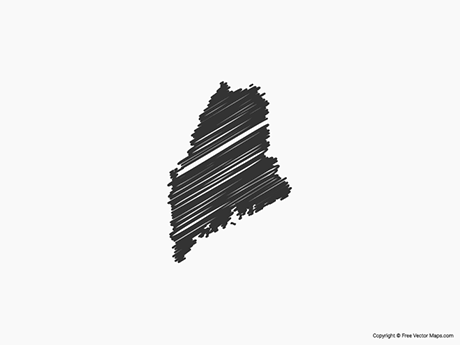 Free Vector Map of Maine - Sketch
