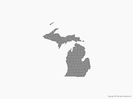 Free Vector Map of Michigan with Counties - Single Color