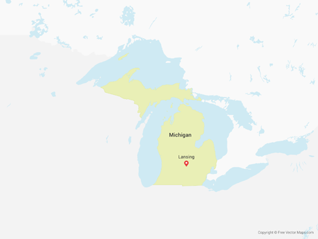 Free Vector Map of Michigan