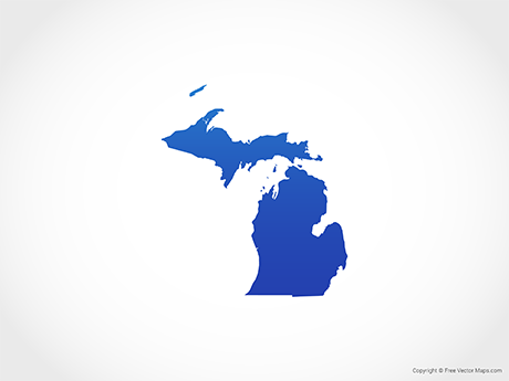 Free Vector Map of Michigan - Blue