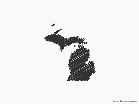 Free Vector Map of Michigan - Sketch