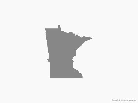 Free Vector Map of Minnesota - Single Color