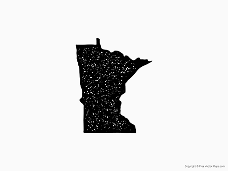 Free Vector Map of Minnesota - Stamp