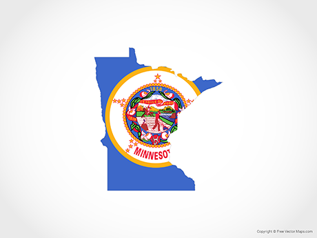 Minnesota Map Png.Vector Map Of Minnesota Flag Free Vector Maps