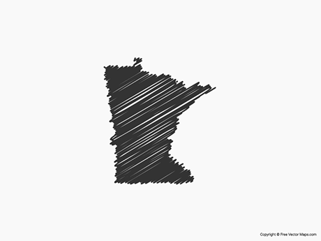 Free Vector Map of Minnesota - Sketch