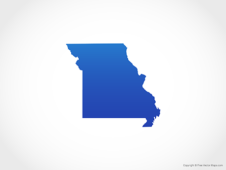 Free Vector Map of Missouri - Blue