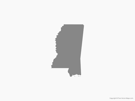 Free Vector Map of Mississippi - Single Color