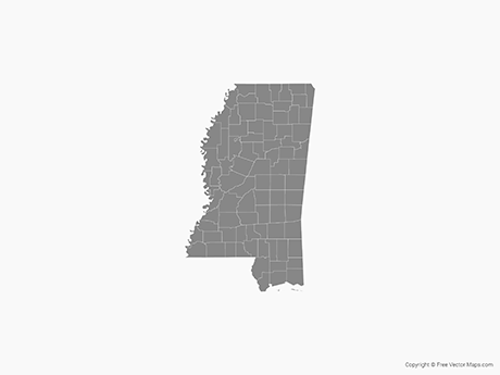 Free Vector Map of Mississippi with Counties - Single Color