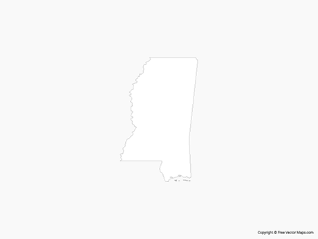 Free Vector Map of Mississippi - Outline