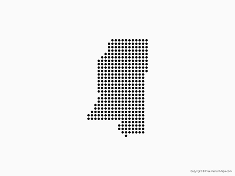 Map of Mississippi - Dots