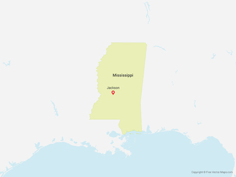 Free Vector Map of Mississippi