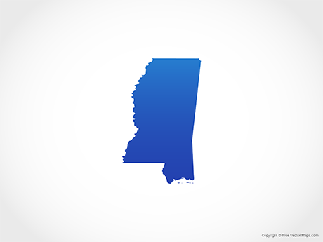 Free Vector Map of Mississippi - Blue