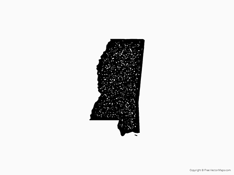 Free Vector Map of Mississippi - Stamp