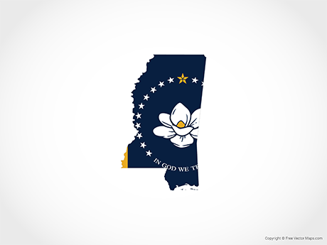 Free Vector Map of Mississippi - Flag