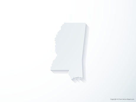 Free Vector Map of MIssissippi - 3D