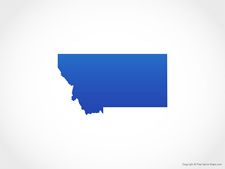 Free Vector Map of Montana - Blue