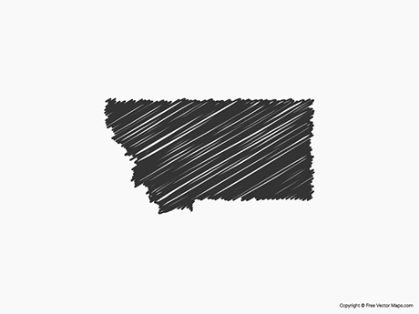 Free Vector Map of Montana - Sketch
