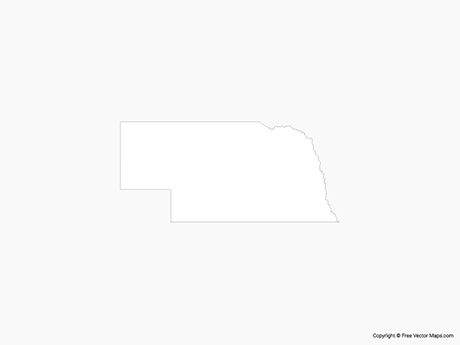 Free Vector Map of Nebraska - Outline