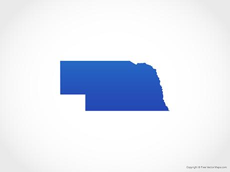 Map of Nebraska - Blue