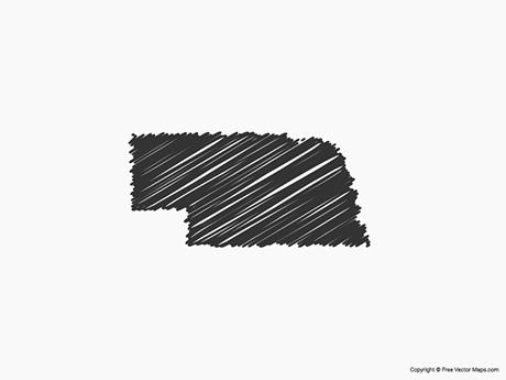 Free Vector Map of Nebraska - Sketch