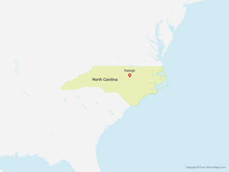 Free Vector Map of North Carolina
