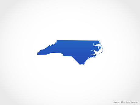 Free Vector Map of North Carolina - Blue