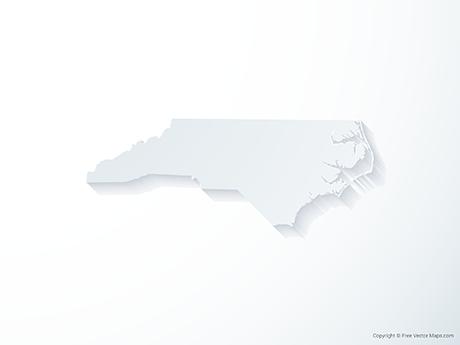 Free Vector Map of North Carolina - 3D