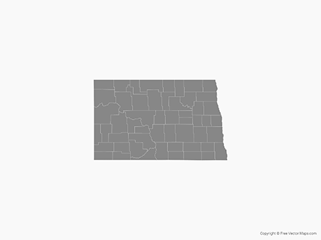 Free Vector Map of North Dakota with Counties - Single Color