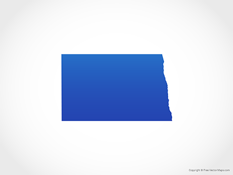 Free Vector Map of North Dakota - Blue
