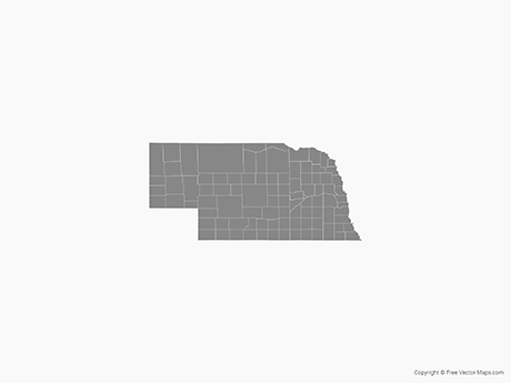 Free Vector Map of Nebraska with Counties - Single Color