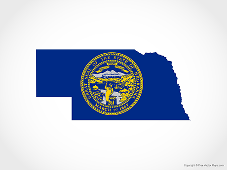 Free Nebraska Map.Vector Map Of Nebraska Flag Free Vector Maps