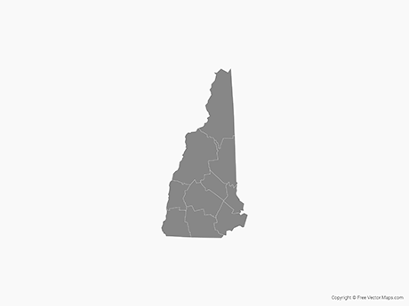 Free Vector Map of New Hampshire with Counties - Single Color