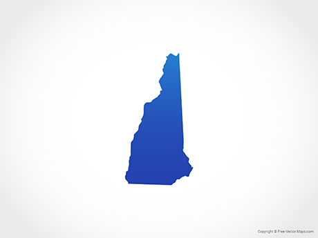 Free Vector Map of New Hampshire - Blue