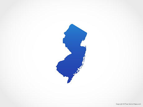 Free Vector Map of New Jersey - Blue